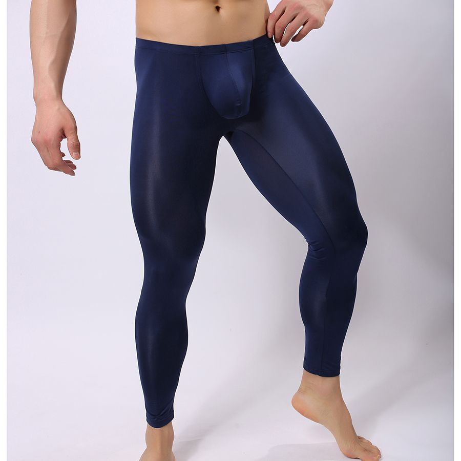7fc10144e2151 Man Sexy Nylon Transparent Pajama Pants/Ice Silk Pouch Sheer Leggings  Bottoms/Gay Spandex Lounge Tights