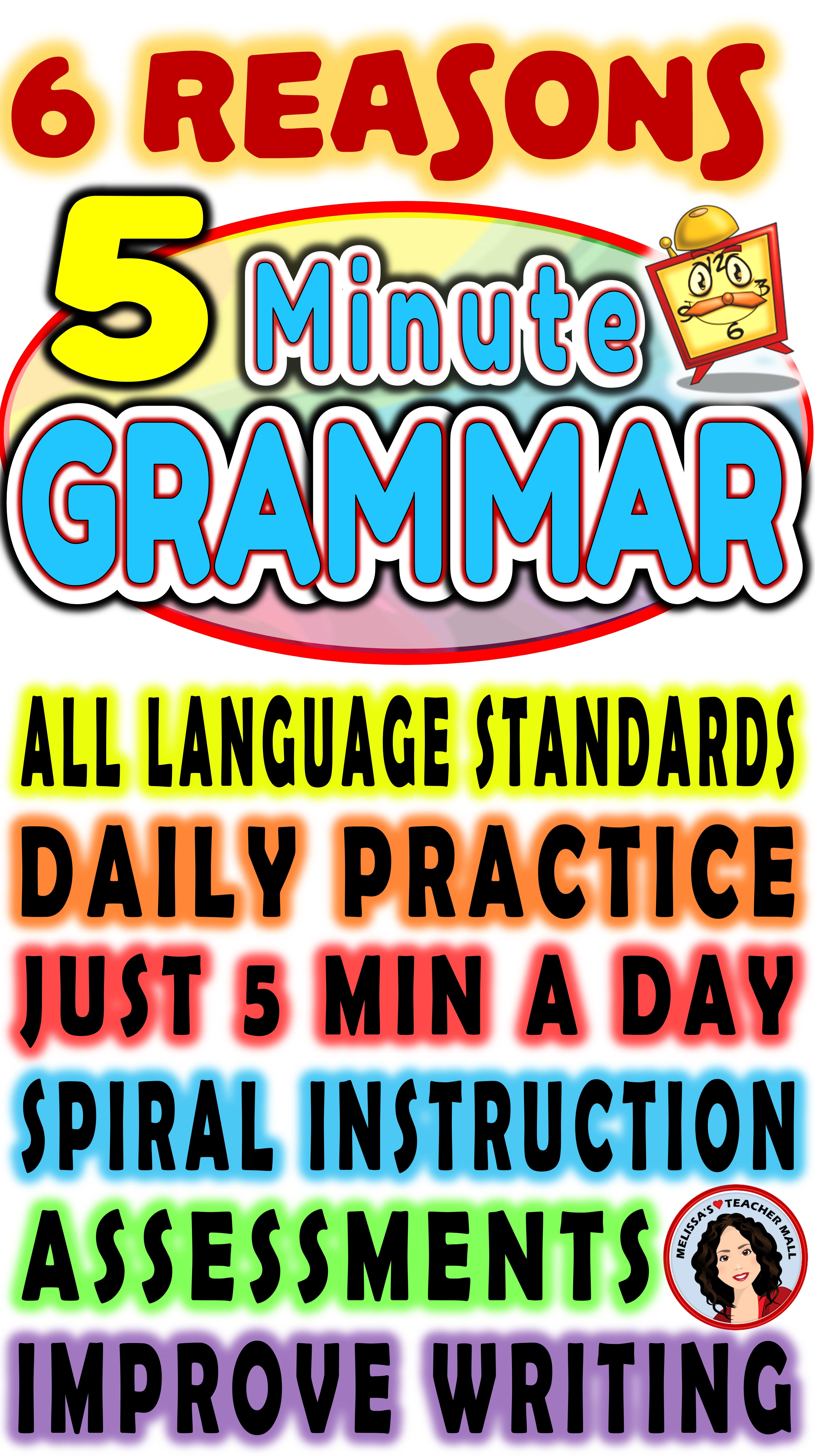 5 Minute Grammar Daily Grammar Worksheets 5th GRADE Practice and