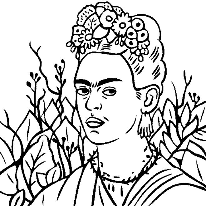 frida kahlo coloring pages | frida-kahlo-self-portrait-with-thorn-necklace nel 2019 ...