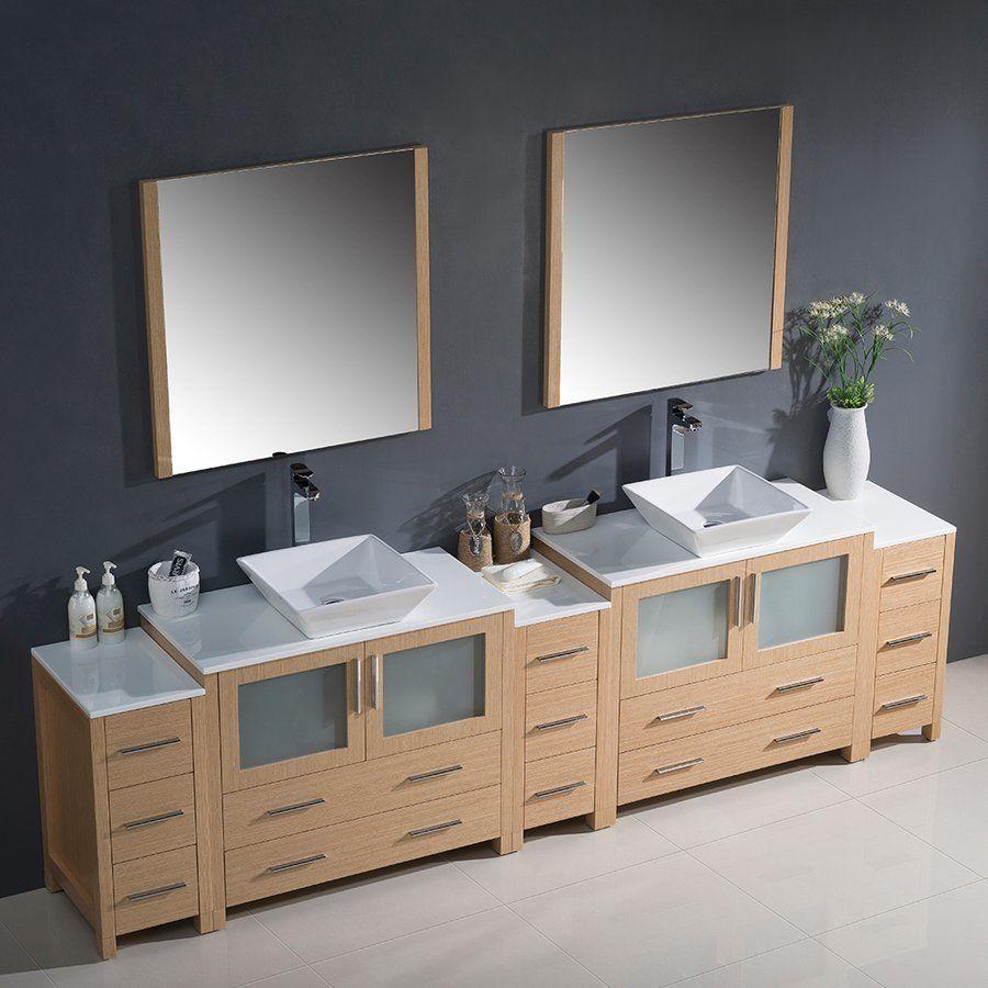 Fresca Torino 108 Light Oak Modern Double Sink Bathroom Vanity W Vessel Sinks Fvn62 108lo Vsl Double Sink Bathroom Vanity Bathroom Vanity Bathroom Sink Vanity