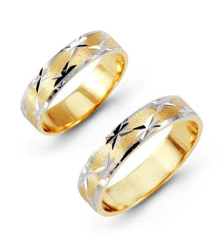 Amazoncom 14k Yellow White Gold Bride Groom Ring Wedding Band Set