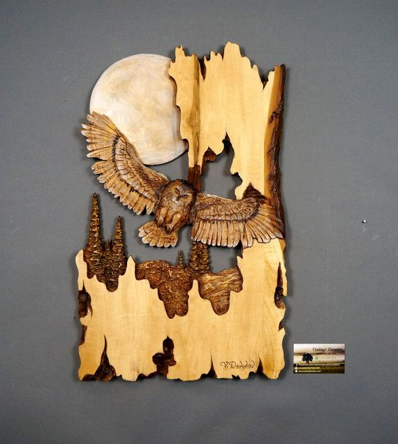 Wooden Gift Owl Carved Wood Carving Wall Art Wooden Bird Decoration ...