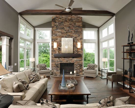 Stone Fireplace Decor Living Room