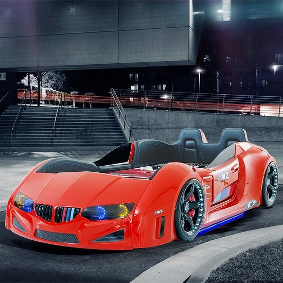 Best Bmw Childrens Car Bed In Red With Led And Leather Seats 400 x 300