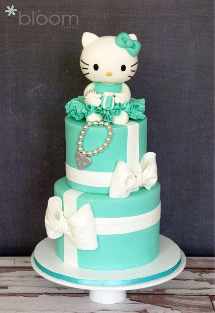 Tiffany inspired Hello Kitty birthday cake girl birthday party kids