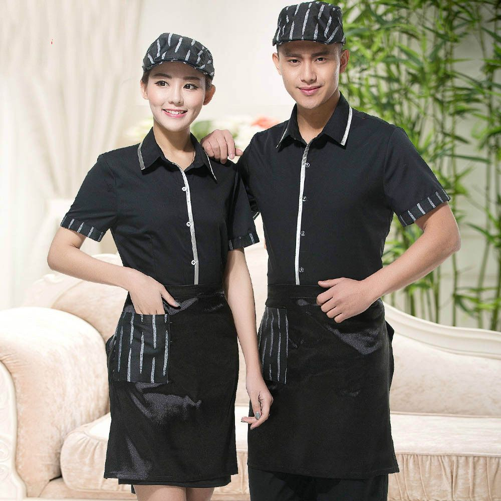 fcc46f98c0e Chinese Style Restaurant Uniform Restaurant Waiter Uniforms Short-sleeved  Summer Hotel Coffee Shop Staff Tops
