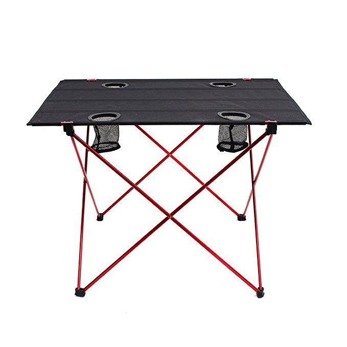 Outry Lightweight Folding Table With Cup Holders Portable