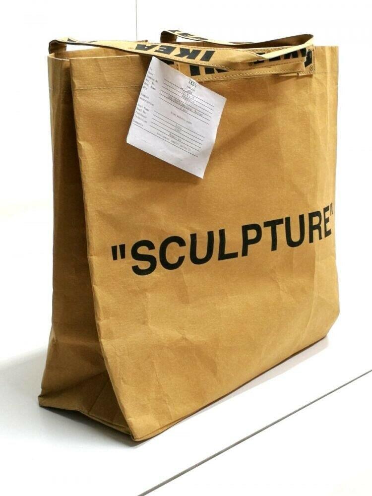 Ikea X Virgil Abloh Markerad Shopping Bag Medium Sculpture Brand New In Hand Ebay Off White Bag Medium Bags Ikea