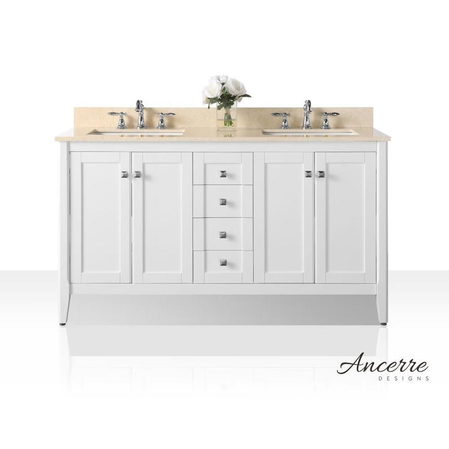Ancerre Designs Shelton 60 In White Double Sink Bathroom Vanity