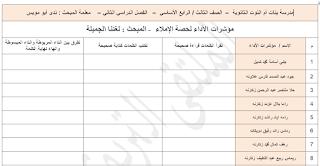 قوائم رصد درس الاملاء مؤشرات الاداء لحصة دراسية لغة عربية للصفين الثالث والرابع 2019 2020 Map Map Screenshot