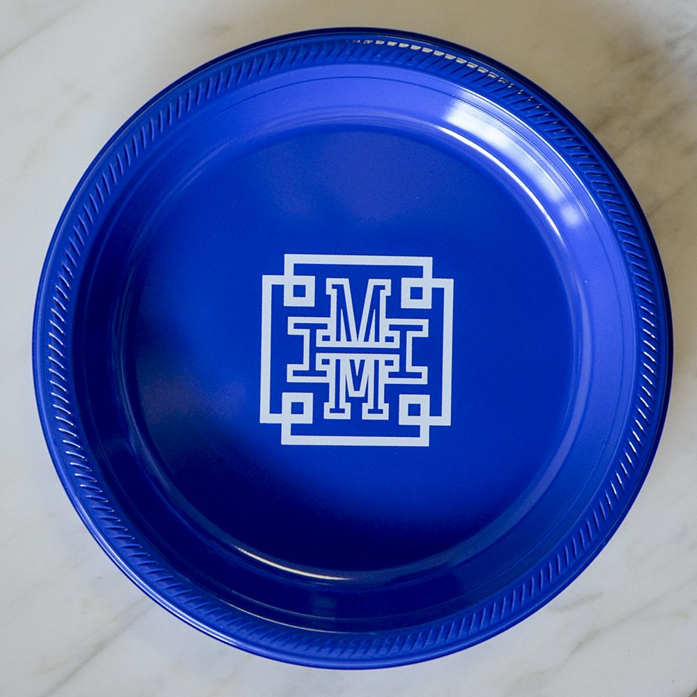 Traditional Wedding Monogram Printed Plastic Plates Monogrammed Printed Plates Party Plates Custom Plates Personalized Plates & Traditional Wedding Monogram Printed Plastic Plates Monogrammed ...