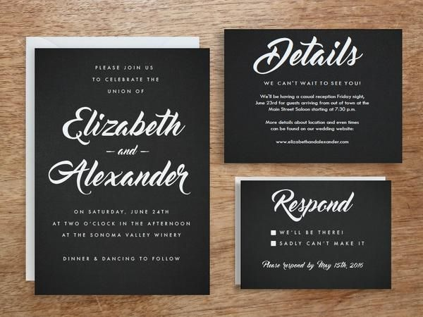 A black and white retrocool printable wedding invitation set which