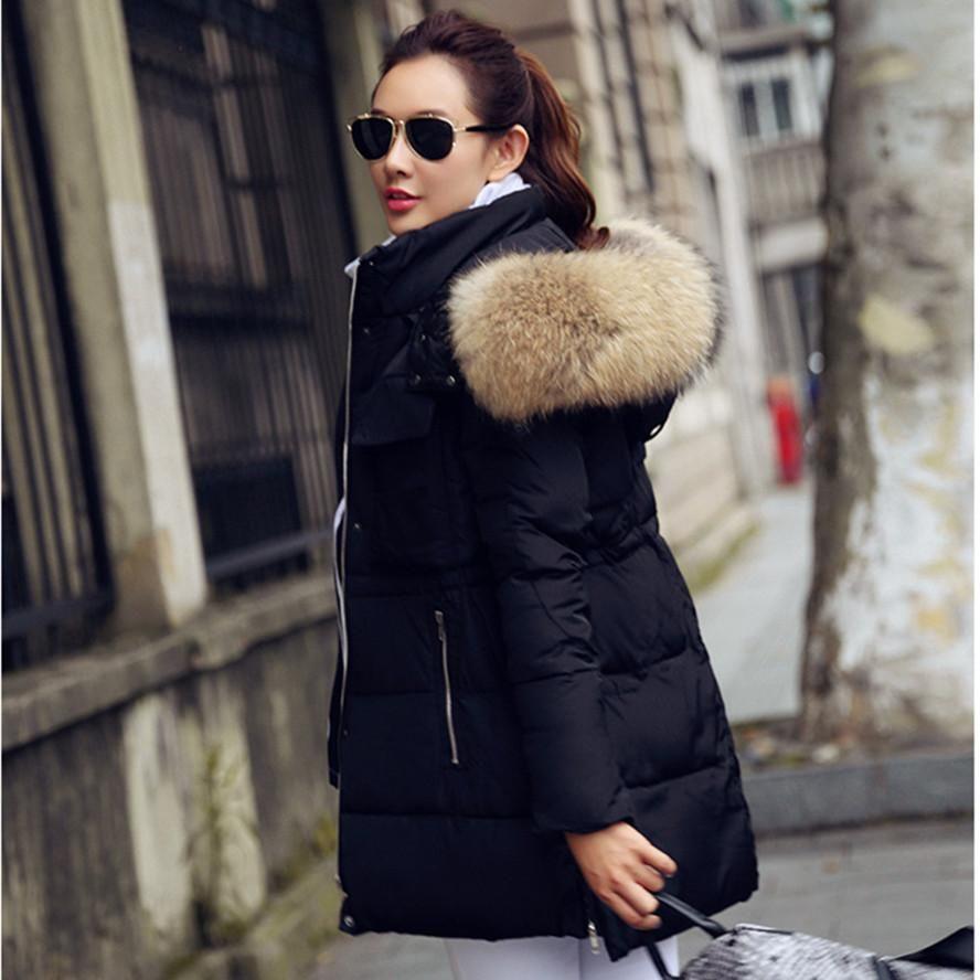 Free Shipping New 2017 Winter Jacket Women Rac Real Fur Collar Coats Female S Down Jackets