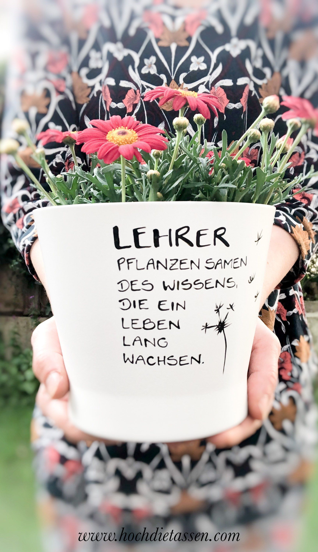 Teacher gift, flower pot with saying, teacher flower pot gift, farewell school, high the cups, high diecups