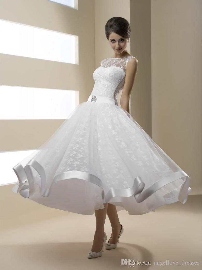Cheap 2016 tea length short ball gownwedding dresses with for Cheap wedding dresses tea length