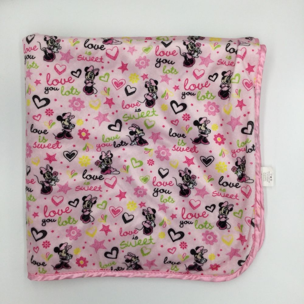 Details about disney baby minnie mouse love you hears pink sherpa