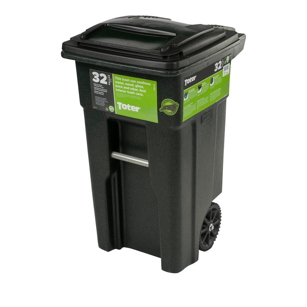 Toter 32 Gal Green Trash Can With Wheels And Attached Lid Trash Can Trash Cans Kitchen Trash Cans