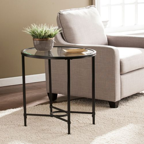Best Hillcrest Black Metal Oval Side Table Accent Table In 400 x 300