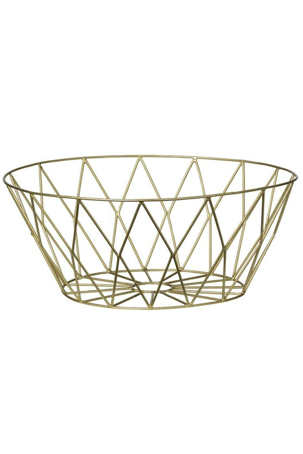 """Gold metal basket. Looks great empty or filled with your favorite fruit or veggies on your kitchen countertop. Also works on your cocktail table or entry table.  Measures: 9.75"""" Round x 4""""H  Gold Metal Basket by Bloomingville. Home & Gifts - Home Decor Montana"""