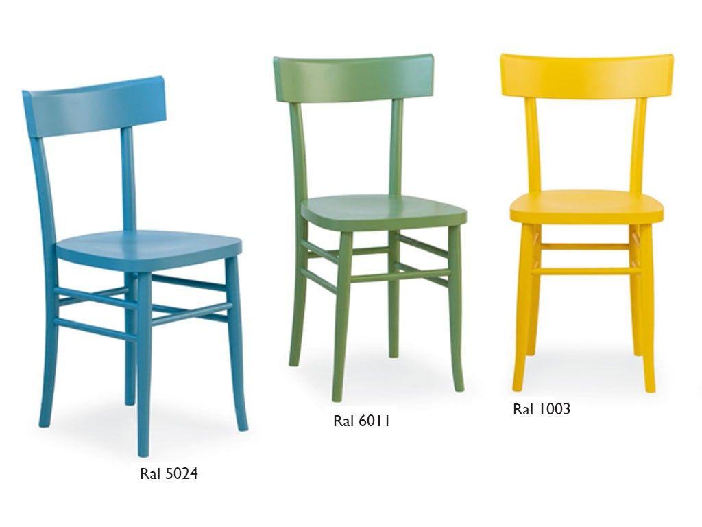 Milano sedia in legno colorata Sedia con struttura in massello di ...