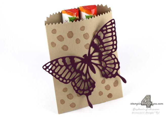 Stampin' Up! Mini-Leckereientüte Verpackung für Schokolade Duplo Thinlits Formen Schmetterling