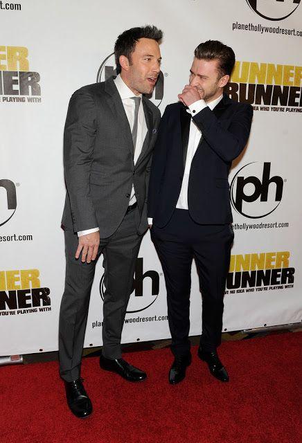 Celeb Diary Ben Affleck Justin Timberlake La Premiera Runner Runner In Las Vegas Justin Timberlake Timberlake Justin