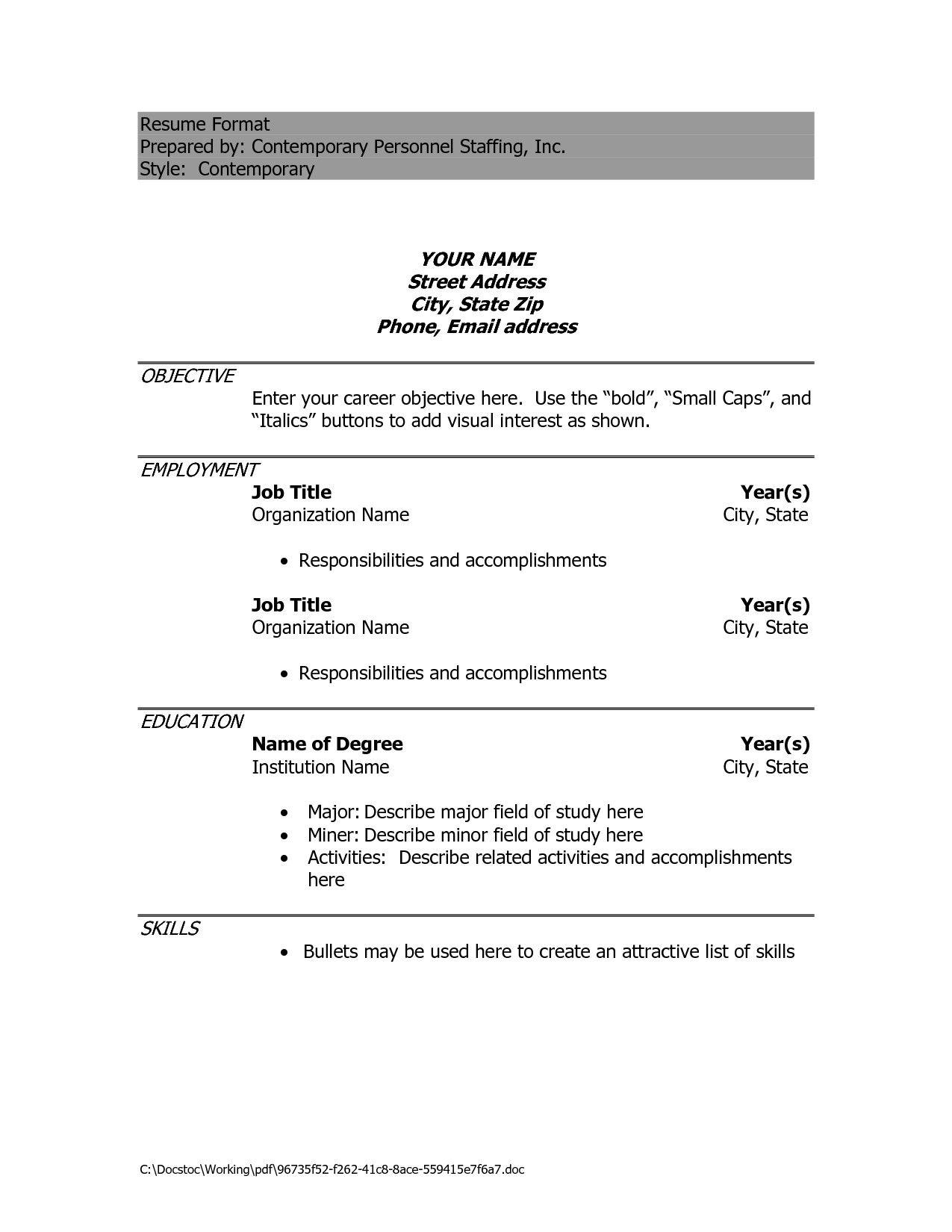 Free Resume Template Download Google Docs