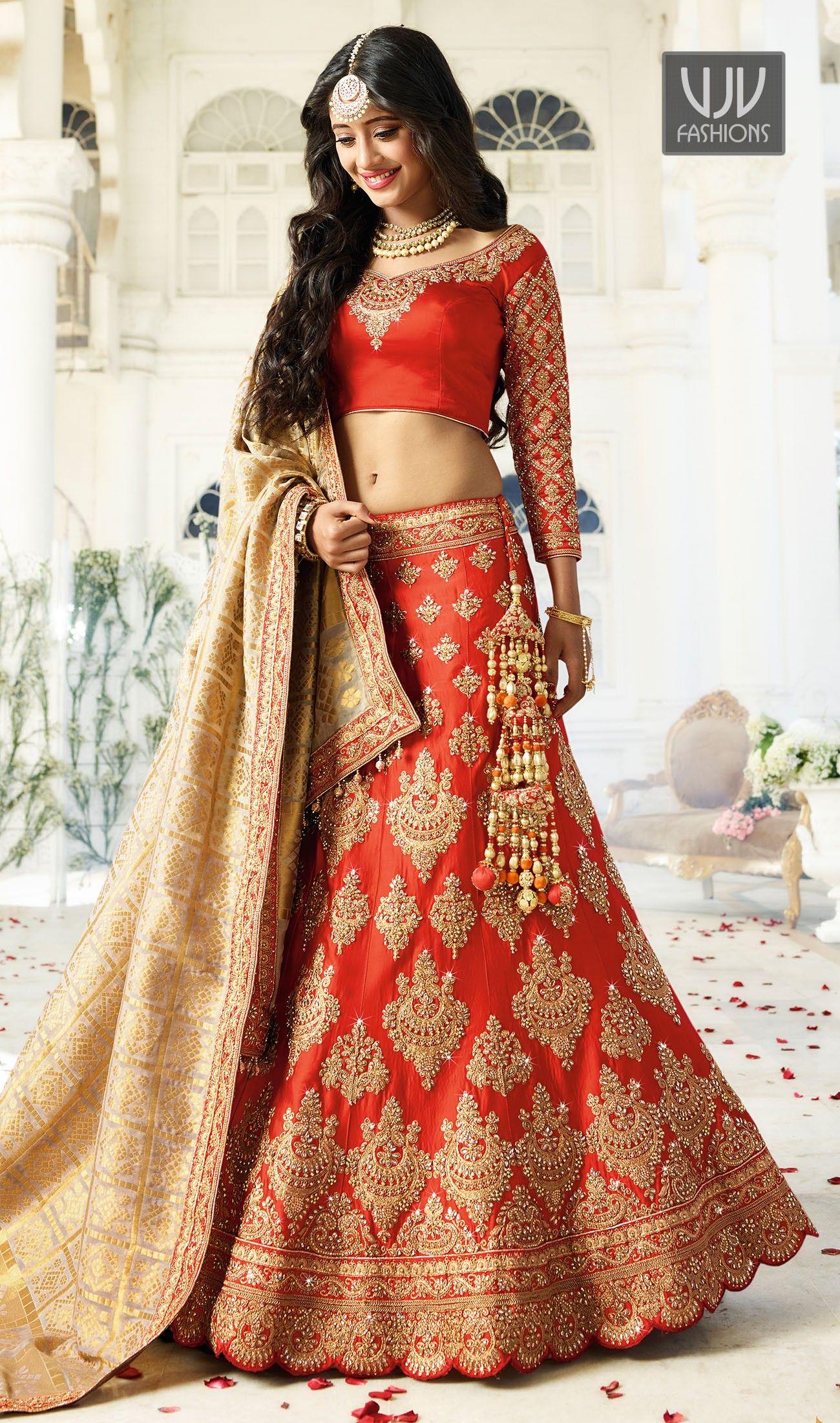 156ff1b6cb Shivangi Joshi Delightful Red Satin Designer Lehenga Choli Indian Wedding  Outfits, Wedding Attire, Indian