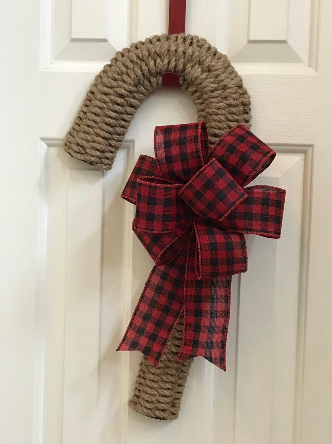 Woven Rope Candy Cane Wreath, Rustic Door Hanger, Christmas Wreath, Buffalo Check, Front Door Wreath, Buffalo Plaid Holiday Decor, Gift #candycanewreath