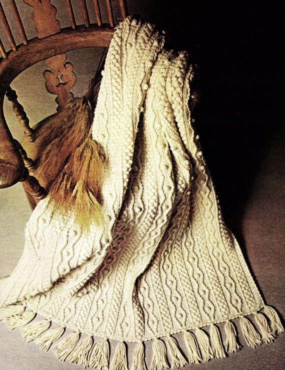 Crochet Aran Afghan Vintage Pattern | Hazlo tú mismo/Artesanías ...