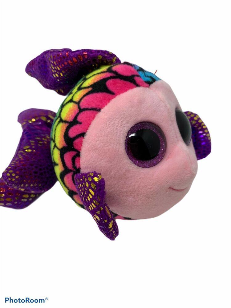 """TY Beanie Baby Boos w// tag Big Eyes 8/"""" Flippy the Fish Plush"""