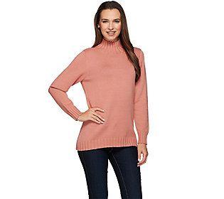 Denim & Co. Essentials Mock Neck Sweater with Hi-Low Hem