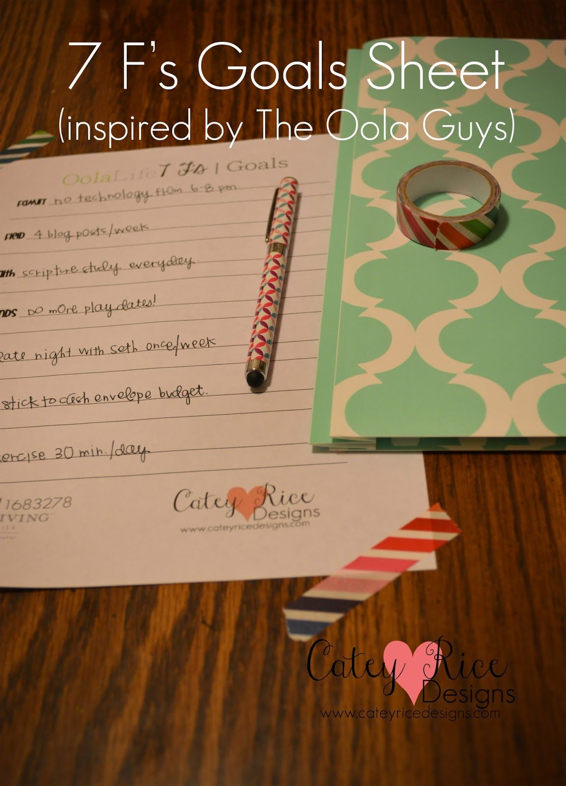 7 F S Of Oola Goals Printable Sheet