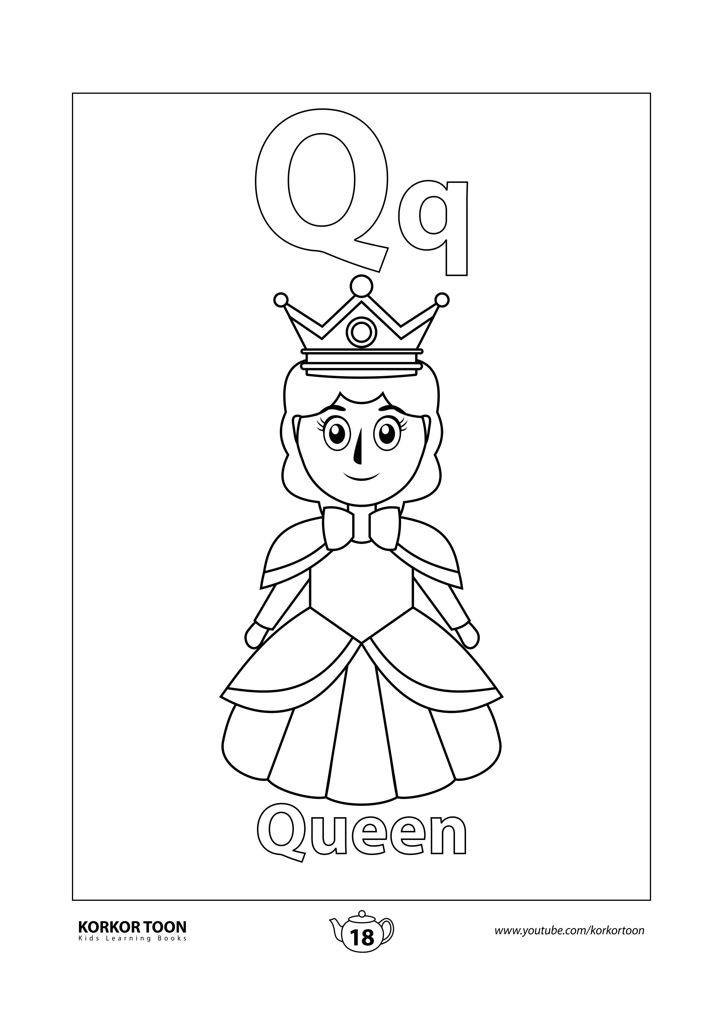 Queen Coloring Page Abc Coloring Book Coloring Books Abc Coloring Kids Coloring Books