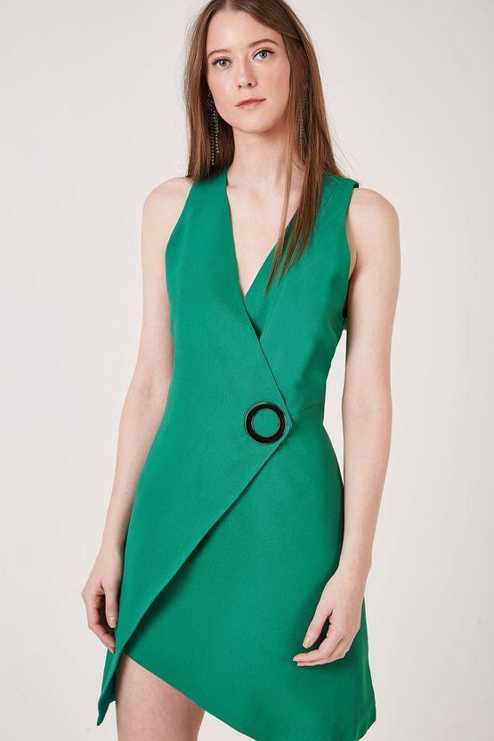 d75d4c26d Vestido Crepe Detalhe Ilhós Verde   vestidos em 2019   Vestido crepe ...