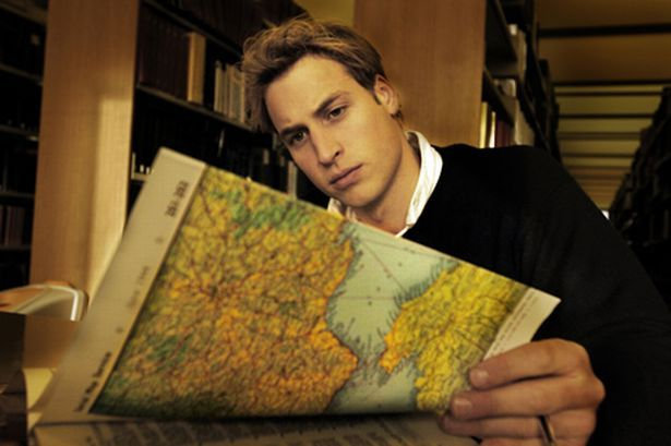 2004 - Prince William would graduate with a Masters in Geography. Hence this photo of him posing with a map :)