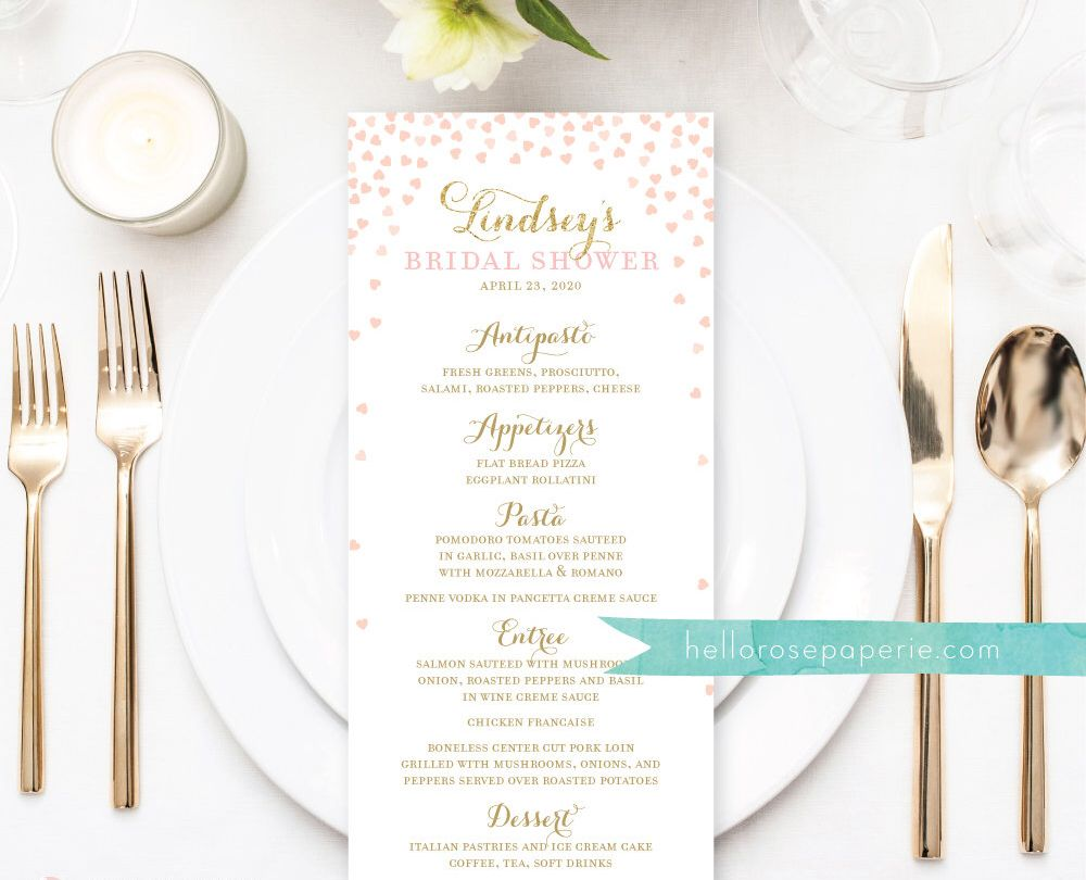 excited to share the latest addition to my etsy shop bridal shower menu printable wedding menu printable menu template wedding menu card