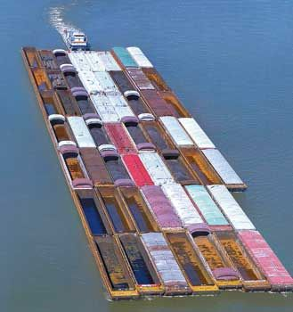 Aerial Photo Of Ingram Barge Line Towboat With Large Tow