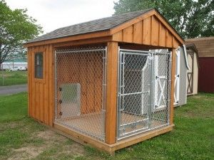 Enclosed Kennel Buy A 10x10x6 Kennel And Build Around It Maybe Use The Fourth Panel On The Ground To Prevent Digging Dog House Plans Dog Houses Dog House Diy