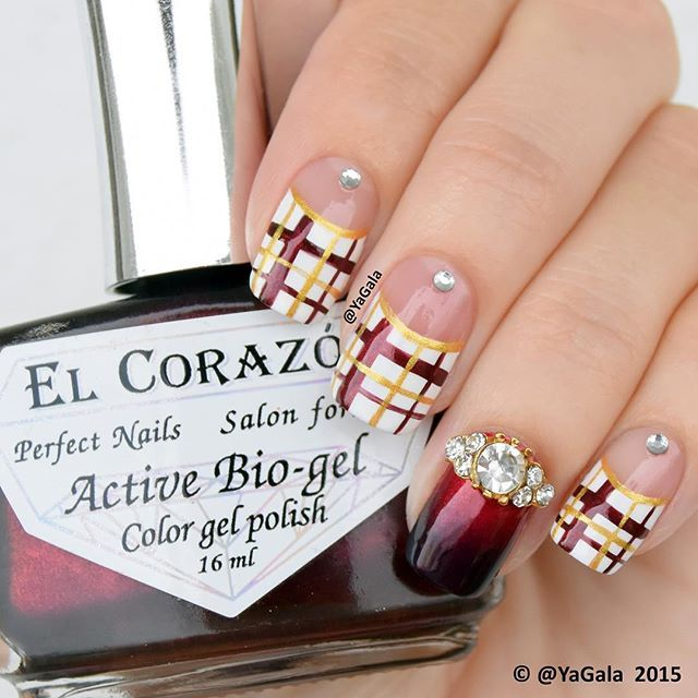 Plaid nail art ✨El Corazon No423/622, No423/626, No423/290 @el_corazon_shop Elcorazon-shop.com ✨Kaleidoscope st-21 -