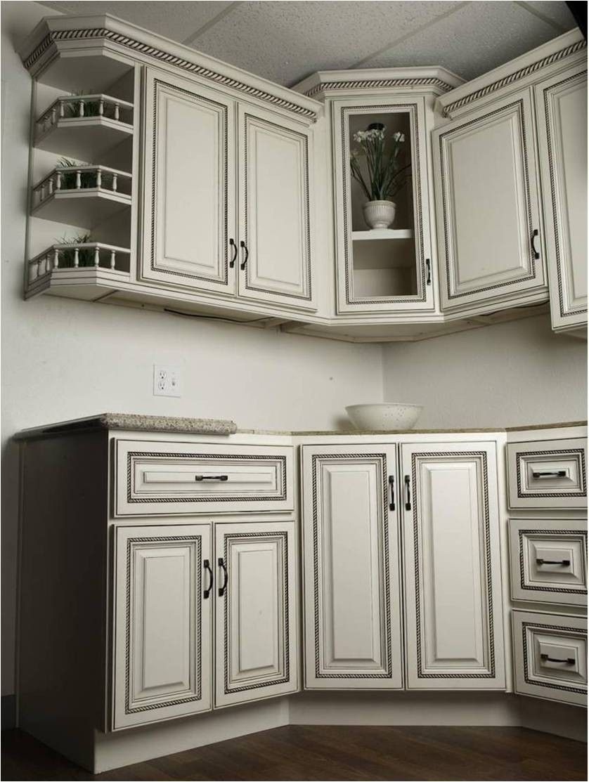 Best Stunning Antique White Glazed Kitchen Cabinets Design 400 x 300