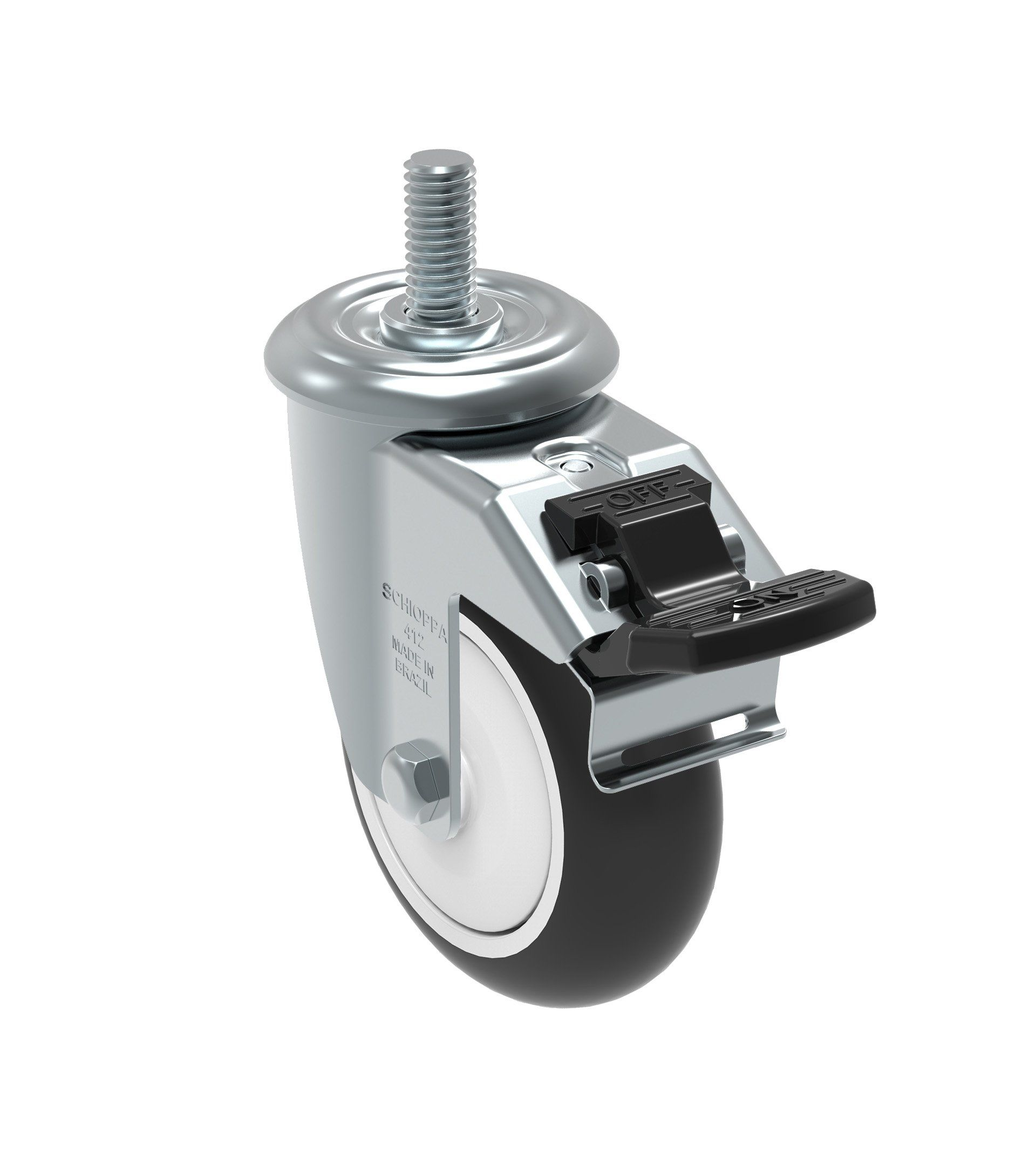 Schioppa Gleef 412 Npe G L12 Series 4 X 1 1 4 Diameter Swivel Caster With Total Lock Brake Non Marking Polypropylene Pre Swivel Casters Caster Swivel Wheels