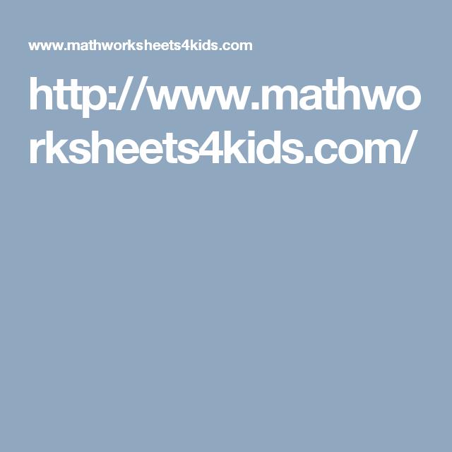 http://www.mathworksheets4kids.com/ | математика | Pinterest | Math ...