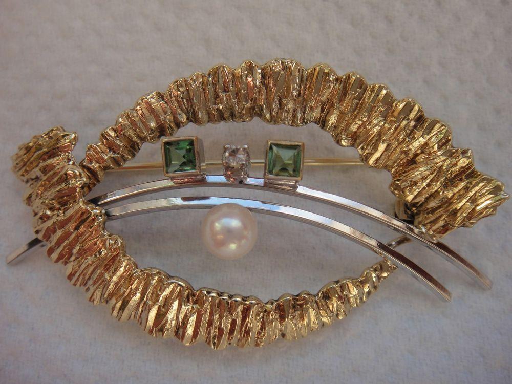 585 Gold und Weißgold, Brillant, Smaragd, Perle, Brosche, Nadel, Anstecknadel