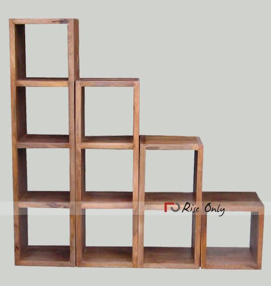 Wooden Detachable Sheesham Wood Cube Bookshelf Wood Bookshelves