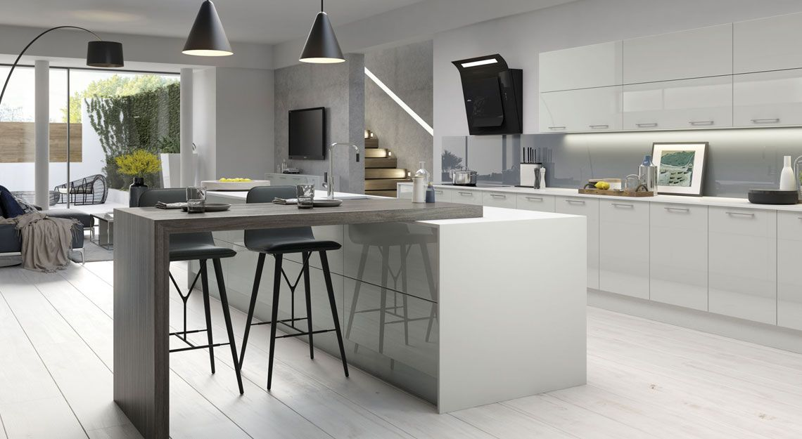 Vivo Light Grey High Gloss Kitchen Cabinets Pinterest Gloss - Light grey kitchen units