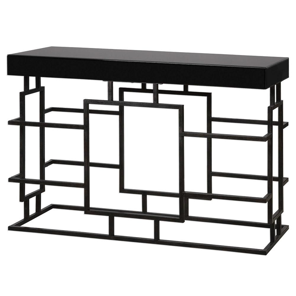 Geometric Cage Console Table With Black Glass Top Console Table Black Furniture Console