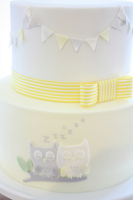 Baby Shower or 1st birthday Owl Cake Ink. (Janelle), via Flickr yellow gingham ribbon on cake with owls