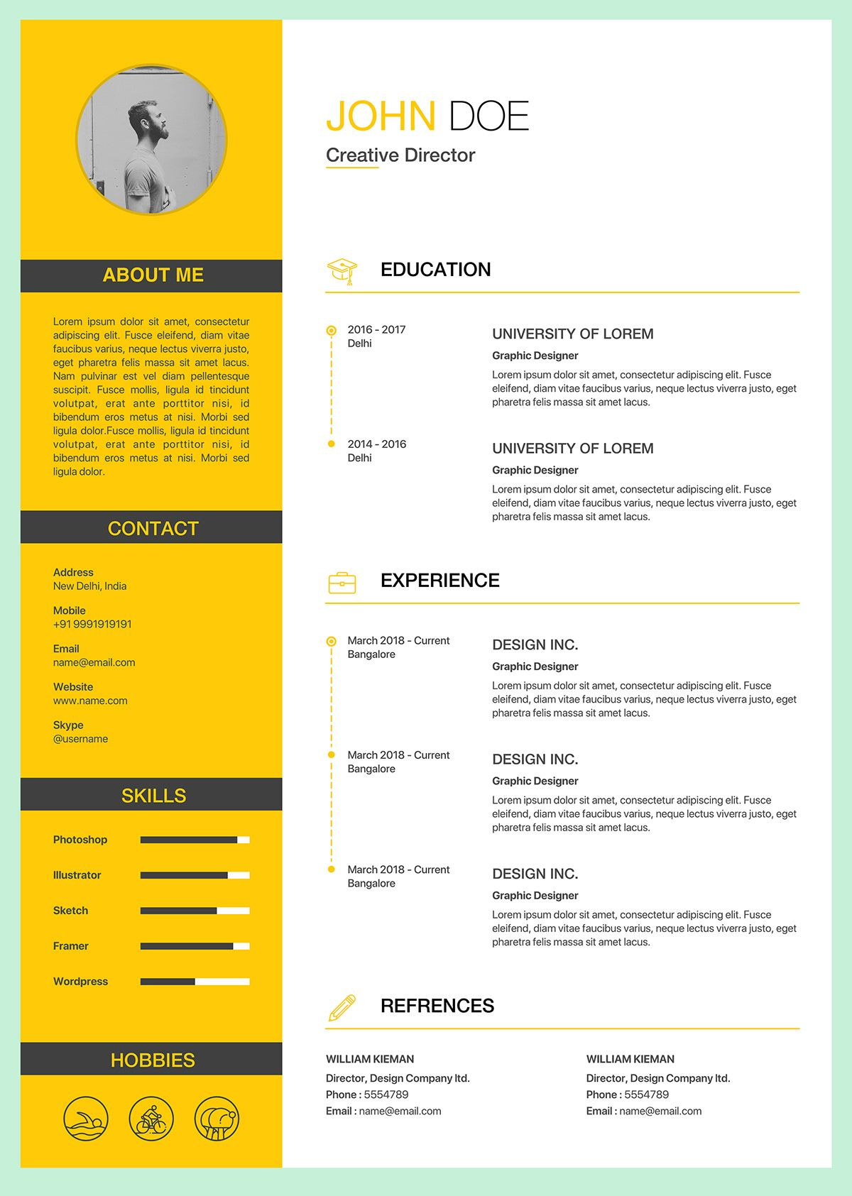 3 free clean resume template on behance clean resume