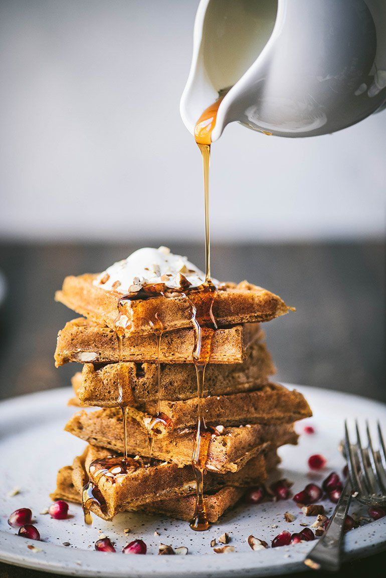 Vegan, GlutenFree Pumpkin Pecan Waffles NoshandNourish